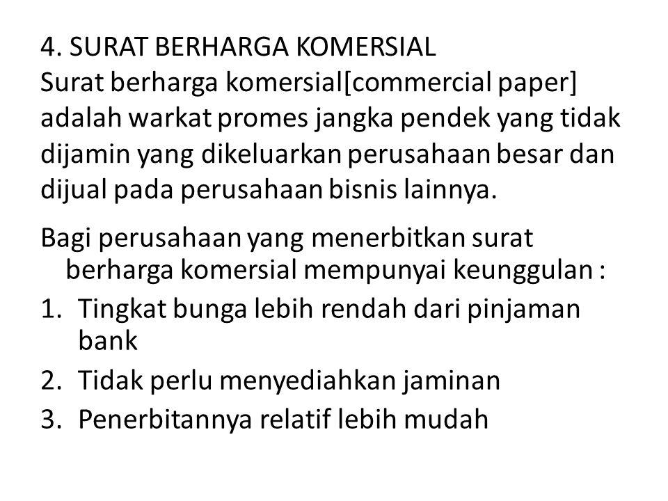 4. SURAT BERHARGA KOMERSIAL Surat berharga komersial[commercial paper] adalah warkat promes jangka pendek yang tidak dijamin yang dikeluarkan perusahaan besar dan dijual pada perusahaan bisnis lainnya.